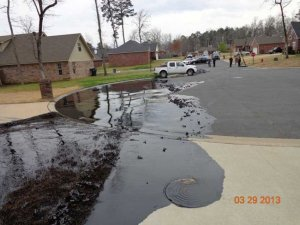 A tar sands spill from a pipeline in Mayflower, Arkansas.